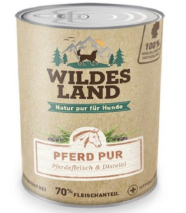 Wildes Land | Nassfutter für Hunde | Pferd PUR | 6 x 400 g | mit Distelöl | Getreidefrei & Hypoallergen | Extra hoher Fleischanteil von 70% | Beste Akzeptanz und Verträglichkeit