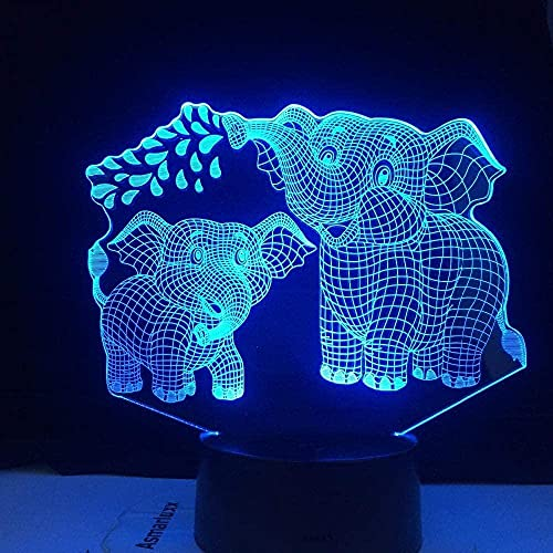 DXJA HCDZF Lámpara LED 3D noche luz elefante serie 16 colores cambio LED mesa escritorio lámpara niños Christma regalo decoración del hogar 3D anime noche luz