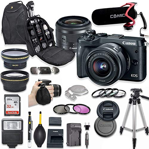 Canon EOS M6 Mirrorless Digital Camera with 15-45mm Lens Kit (Black) + Wide Angle Lens + 2X Telephoto Lens + Flash + SanDisk 32GB SD Memory Card + Video Creator Accessory Bundle