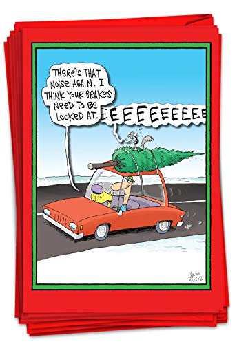 NobleWorks - 12 Boxed Merry Christmas Cards Bulk - Funny Cartoon Happy Holiday Stationery, Hilarious Notecard Set (1 Design, 12 Cards) - Screaming Tree B1883
