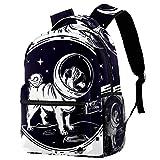 TIZORAX Mochila de perro en astronauta casco escolar, mochila de viaje, informal, para mujeres, adolescentes, niñas y niños