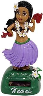Iuhan  Hawaii Girl Solar Powered Bobble Head Toy, Hawaii Girl Car Solar Powered Dancing Animal Swinging Animated Bobble Dancer Car (E)