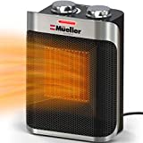 Mueller Portable Heater 750W/1500W Ceramic Space Heater, High Output Fan, Adjustable Thermostat, with overheat/tip over protection for Home Bedroom or Office, ETL Cerified, Grey