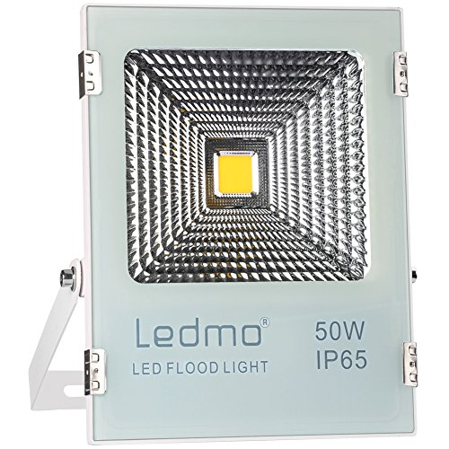 LEDMO 50W LED Flood Lights - Waterproof IP65 LED Light Daylight White 6000K LED Work Light 4000lm 250W Halogen Equivalent LED Spotlight Security Lights Outdoor Lights LED Shop Light for Garage, Garden
