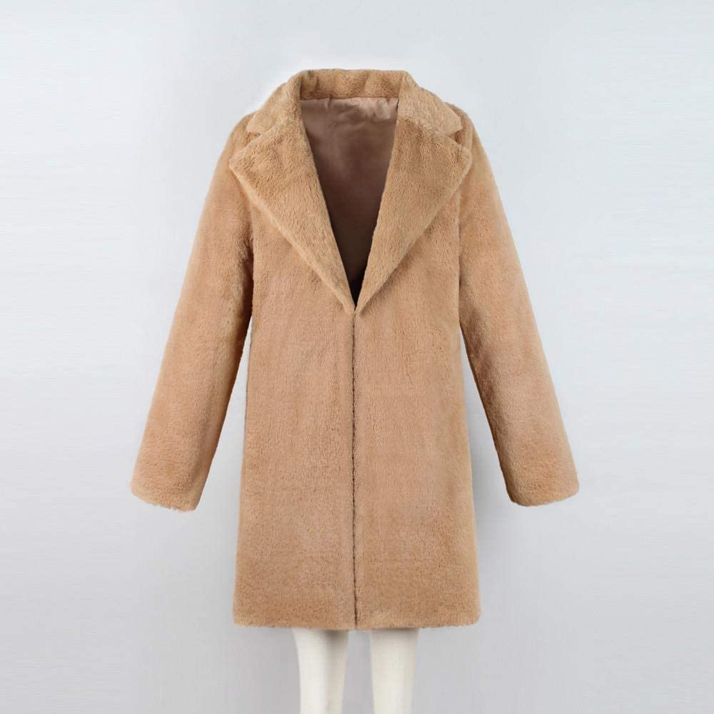 YBIRAL Damen Kunstpelz Mantel Verdicken Pelzmantel Flauschig Elegant Winter Felljacke Parka Plüschmantel Warm Faux Fur Mäntel Coat Khaki