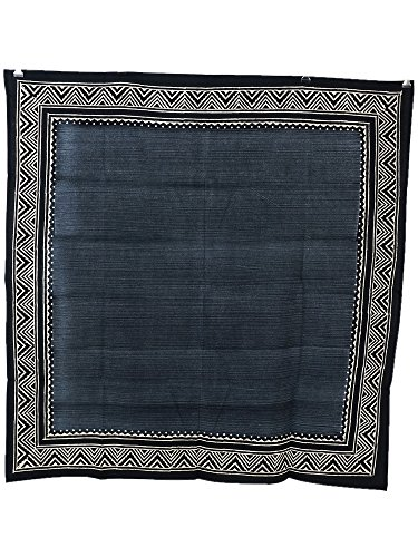 ブロックプリント×ブラシプリントマルチクロス 正方形 ブラック 110cm×110cm アフリカン ネイティブ柄