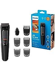 Philips MULTIGROOM Series 3000 MG3720/33 cortadora de pelo y maquinilla Negro Recargable - Afeitadora (Negro, Rectángulo, 9 mm, Nariz, Acero inoxidable, 60 min)