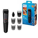 Philips 7-in-1 All-In-One Trimmer, Series 3000 Grooming Kit for Beard & Hair with 7 Attachments, Including Nose Trimmer, Self-Sharpening Blades, UK 3-Pin Plug-MG3720/33