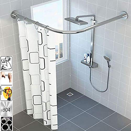 "CBHQUSF Stretchable 304 Stainless L Shaped Bathroom Bathtub Corner Shower Curtain Rod Rack Drill Free Install, Bathroom, Clothing Store, Private Space Wall(35.43""-47.24"" x 35.43""-47.24"")"