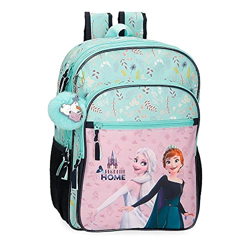 Disney Frozen Arendelle is Home Mochila Escolar Doble Compartimento Adaptable a Carro Azul 30x40x13 cms Poliéster 15,6L