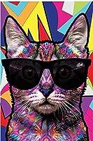 手芸キット数字で描く漫画グラフィティアート動物猫犬キャンバスアートポスタープリント子供部屋の壁画ホームウォールB40X50CM(フレームなし)
