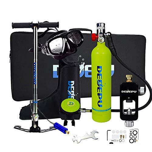 Lixibei Botella de oxígeno para Buceo, Portatil Mini Botella de Buceo de 1 litro con Capacidad de 15-20 Minutos, respirador + Bomba de Aire de Alta presión, Respirar libremente,Verde