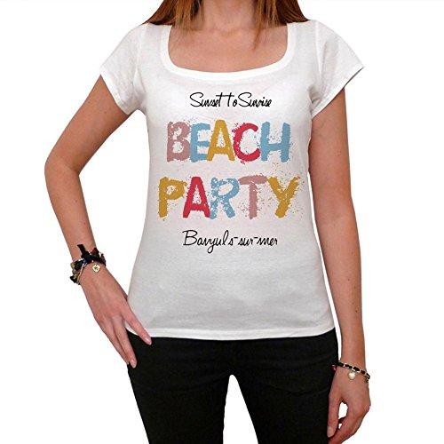 Banyuls Sur Mer Beach Party, La Camiseta de Las Mujeres, Manga Corta, Cuello Redondo, Blanco