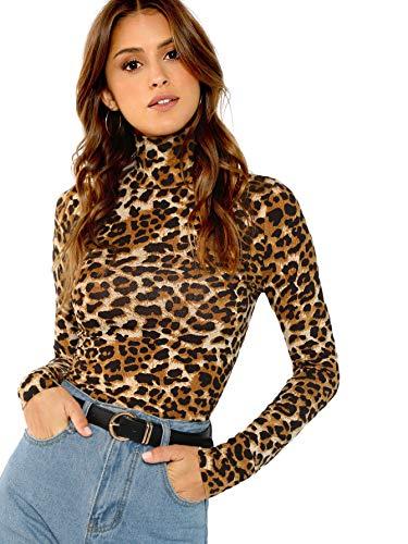 SOLY HUX Mujer Top Camisetas con Manga Larga Y Estampado de Leopardo de Cuello Cisne