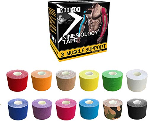 Kinesiology Tape Physio Relieve Muscle Soreness and Strain Shoulders Wrists Knees Ankles Elastic Waterproof Good Air Permeability Hypoallergenic 2 inch x 16 Foot 5 Rolls Green by SOONGO