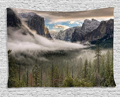 Gudojk Wandtapijt, collectie Country Decor Sun Peaks over de zagen voor het eerste uitzicht van de Tal van Yosemite in een nevel 130 cm x 150 cm
