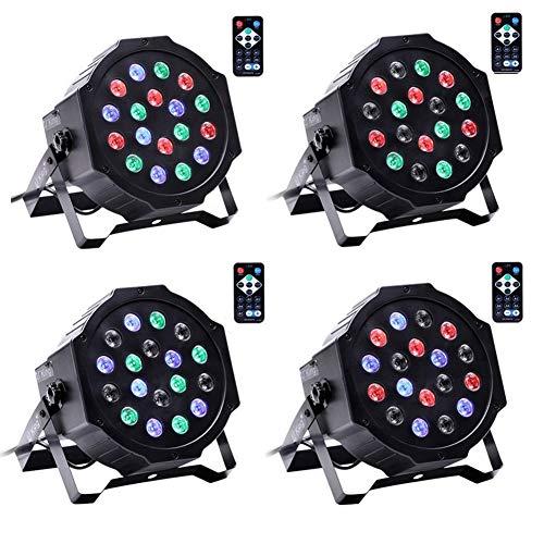 UKing 4pcs LED Par Strahler 18 LED Lichter DMX 512 mit Drahtlose Fernbedienung Disco Party Lichteffekte 7 Beleuchtung Modi für Hochzeit Weihnachten Partylicht