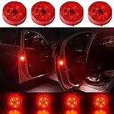 CJRSLRB 4Pcs Car Door LED Warning Light, Universal Wireless Car Door Safety Warning Light for Anti Rear-End...