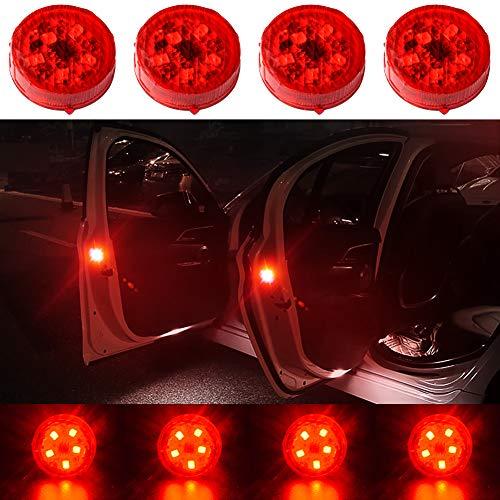 CJRSLRB 4Pcs Car Door LED Warning Light, Universal Wireless Car Door Safety Warning Light for Anti Rear-End Collision (Red)