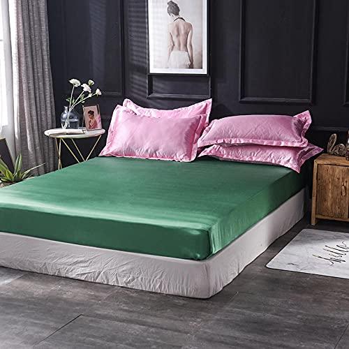 XGguo Protector de colchón - óptimo antiácarosSábana de Cama Pure Color Full Cover Bed Cover-Pink Green_180x200cm