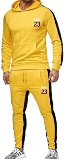 FSSE Men Two Pieces Outfits Print Sweatshirt andGym Pants Sweatsuit Set