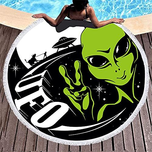 BCDJYFL Secado Rápido Toalla De Playa Alien Impresa con Patrón 3D HD De Manta Lavable Adecuada para Playa Picnic Yoga Parque Infantil Familia.150Cm
