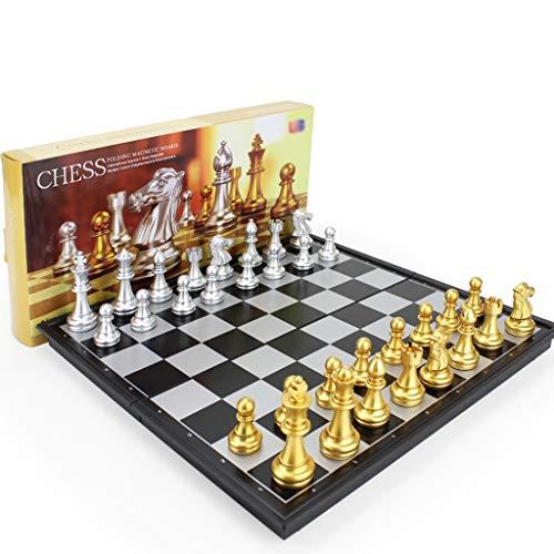 LMG Ajedrez Juego de tableros de ajedrez, Tablero de ajedrez magnético de 32 cm x 32 cm con Tablero de Juegos para niños y Adultos, Plegables y portátiles para Viajes