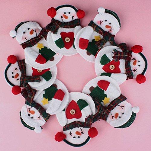 8 pezzi di Natale, decorazione natalizia a forma di pupazzo di neve, con tasca porta-posate da tavola
