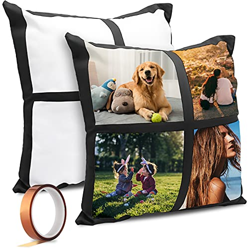 2 PCS Sublimation Blanks Polyester Pillow Cases Cushion with 1 high Temperature Tapes, Double Sided Printing, Throw Pillow Covers 16 x 16 Inch for DIY Sublimation Printing Sofa Couch No Pillow Insert