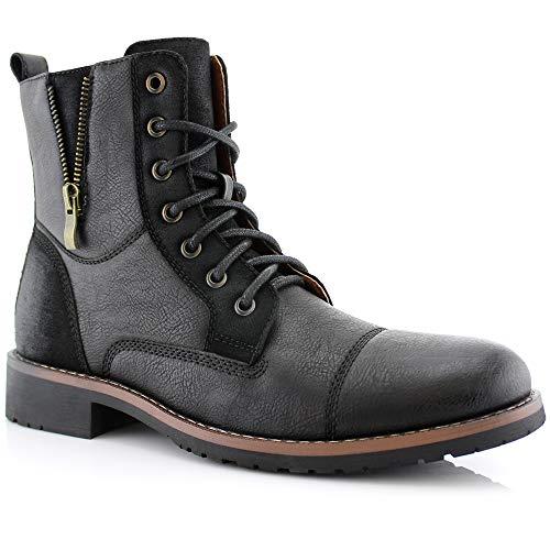 Ferro Aldo Reid MFA808561B Mens Casual Cap Toe Boot Motorcycle Zipper Boots Men Black