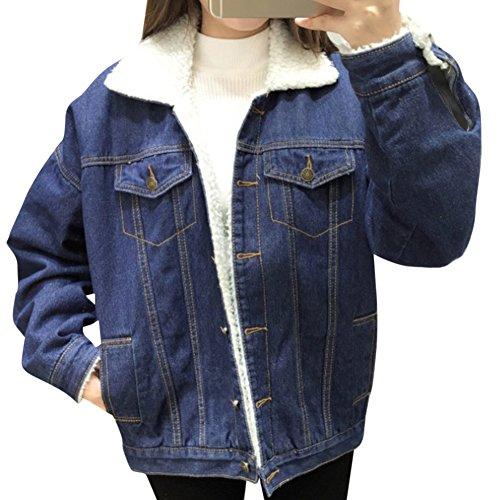 Mujer Engrosamiento Suelto Casual Retro Manga Larga Abrigos Chaquetas Jacket De Mezclilla Chaqueta