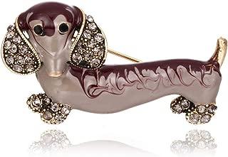 Lovely Enamel Unisex Dachshund Dog Brooch Pin Rhinestone Lapel Collar Jewelry - Red
