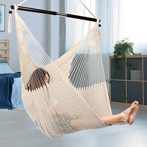 Bathonly Large Caribbean Hammock Hanging Chair, Durable Polyester Hanging Chair, Hanging Hammock Chair w/Foldable Spreader Bar for Indoor/Outdoor, Swing Chair