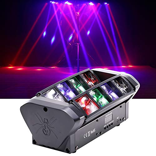 HSL Moving Head Light, DJ Spider Light Beam RGBW 4 Color DMX512 Control, Sound Activated, for Club Lights, Disco, Family Party, Wedding, DJ Scene