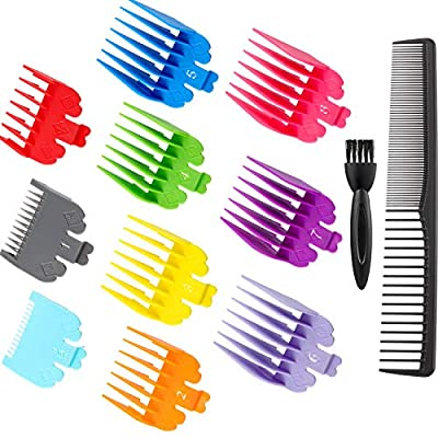 12 Pieces Hair Clipper Limit Comb Guide Attachment Set Cutting Guide Comb with Brush and Comb for Electric Trimmer Shaver Hair Trimmer Comb, 10 Colors, 10 Sizes