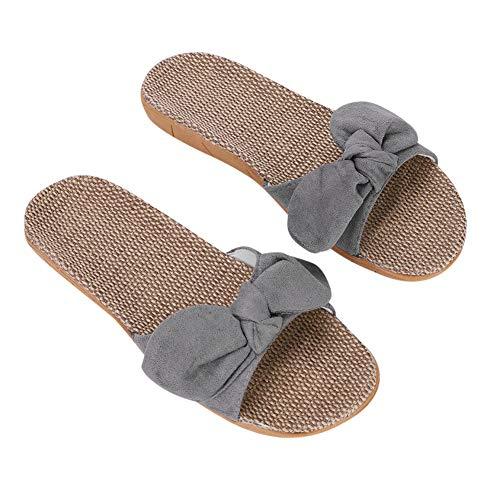 Pantuflas mujer sandalias de playa verano antideslizantes zapatillas de lino zapatos de baño piscina casa oficina mules pies desnudos