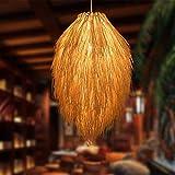 CattleBie E27 Lámpara colgante de la lámpara colgante de la suspensión Lightshade de mimbre de bambú ratán Pantalla tejer a mano de la Base de iluminación de techo de estar lámpara de pared del acceso