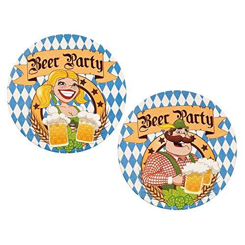 Boland 54212 - Bierdeckel Beer Party, 10 Stück, Pappe, Durchmesser 10 cm, Untersetzer, Tischdekoration, Oktoberfest, Bierfest, Kirchweih, Bayern, Geburtstag, Motto Party, Karneval