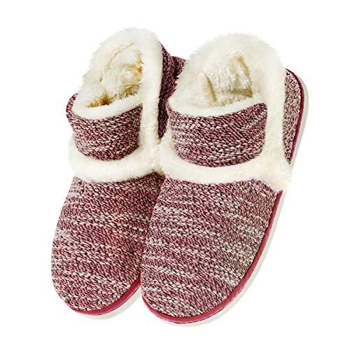 Zapatillas casa para Unisexo Antideslizante Pantufla Cerrada Pelusa Invierno Caucho Rojo EU 35/36(Asia 36/37)