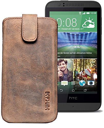 Original Suncase® Etui Tasche für HTC Desire 510 | HTC Desire 526G Dual SIM | ZTE Blade V6 Leder Etui Handytasche Ledertasche Schutzhülle Hülle Hülle *Lasche mit Rückzugfunktion* antik-braun