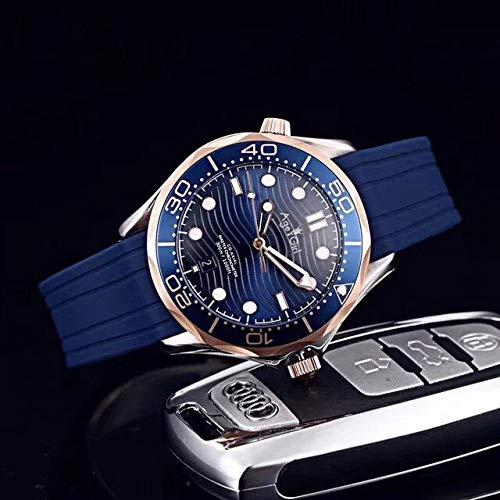 WAVFCSE Montre Mécanique Automatique de pour Hommes en Caoutchouc Noir James Bond 007 Lunette en Céramique Bleue Saphir Sport Limitée en Or Rose Rose Gold Blue