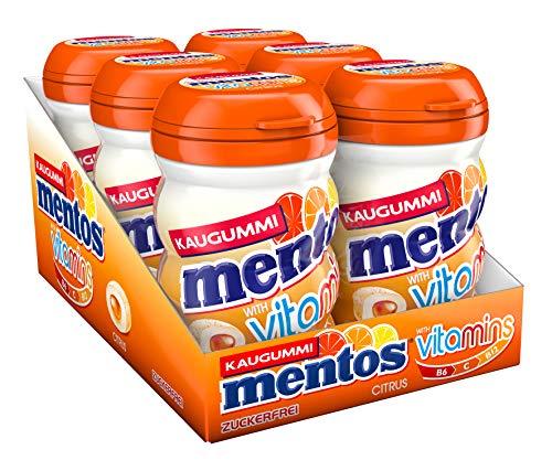 MENTOS Gum Vitamins, 6er Box Kaugummi-Dragees, Citrus-Geschmack, zuckerfrei