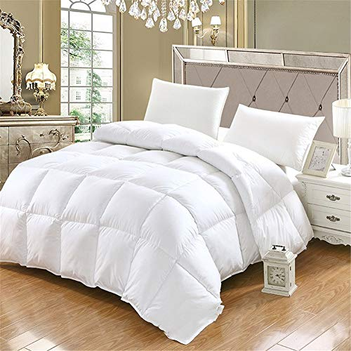 BEDSETS King Size 13.5 Tog - White Goose Feather & Down Duvet - 100% Cotton Anti Dust Mite & Down Proof Fabric - Box Stitched -Anti Allergen Winter Quilt (White,220x240cm 4 kg)