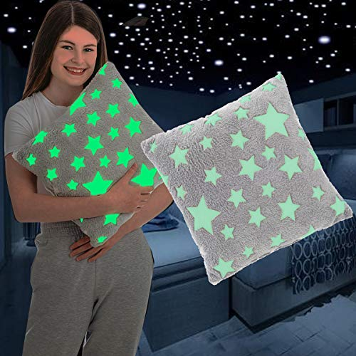 FiNeWaY Glow in The Dark Cuddly Cushion Moon Star Unicorn Gifts for Kids Girls Boys Adults Cosy Warm Super Soft Plush Fleece Faux Fur Bedtime Pillow Bedroom Sofa Couch (Stars Grey)