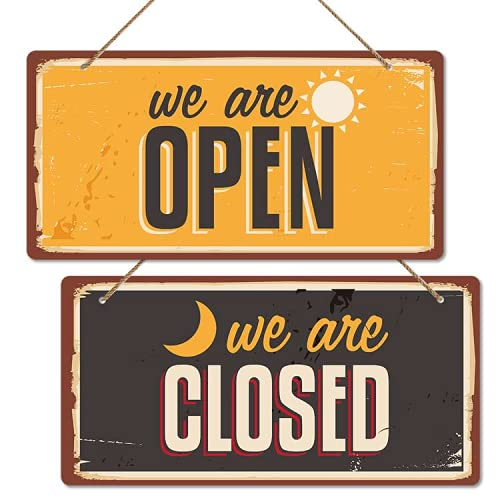 """WHATSIGN Business Open and Closed Door Sign,6""""x 12"""",Double Sides We are Open/Closed Sign,Hanging Sign,Open Closed Sign for Restaurant,Club,Cafe,Hotel,Store"""