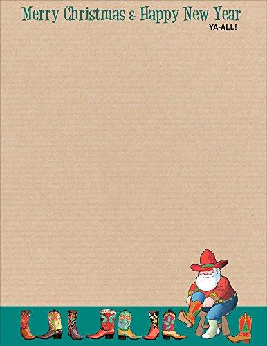 Western Holiday Stationery - 8.5 x 11-80 Fun Letterhead Sheets (Western)