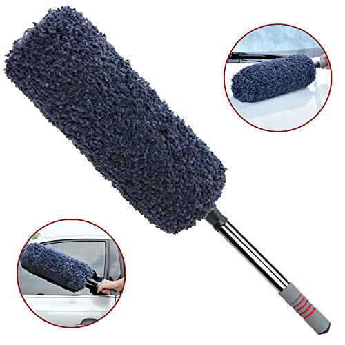 Ultimate Car Duster, Multi-functional Ultra Soft Microfiber Duster with Storage Bag , Long Unbreakable Extendable Handle up to 32 inches, Exterior or Interior Use, Lint Free, Best Car Accessories