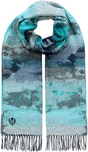 FRAAS Women's Scarf - Winter Scarf with Unique Watercolor Pattern - Cashmink - Softer than Cashmere - Shoulder Wrap Shawl with Side Fringe - Turquoise