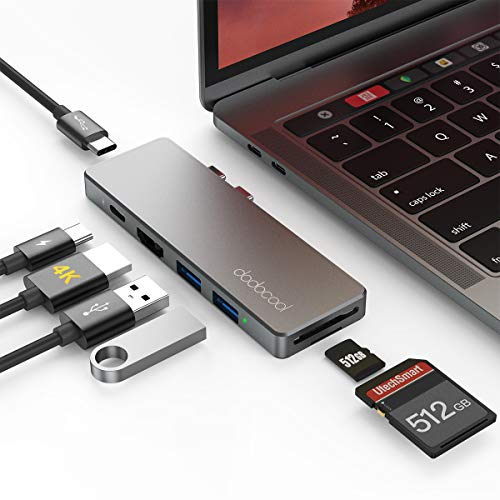 dodocool Hub USB C, Adattatore 7-in-1 Tipo c con HDMI 4K, 2 Porte USB 3.0,Thunderbolt 3 100W PD, USB Tipo C, Lettore di schede SD/Micro SD per MacBook PRO 16'/2019/2018/2017, MacBook Air 2019/2018