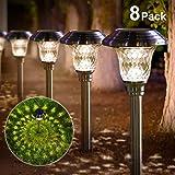 BEAU JARDIN Solar Lights Pathway Outdoor Garden Path Glass...